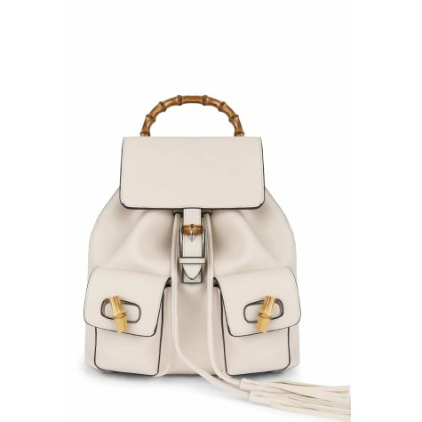 Women's White Bamboo Detail Backpack